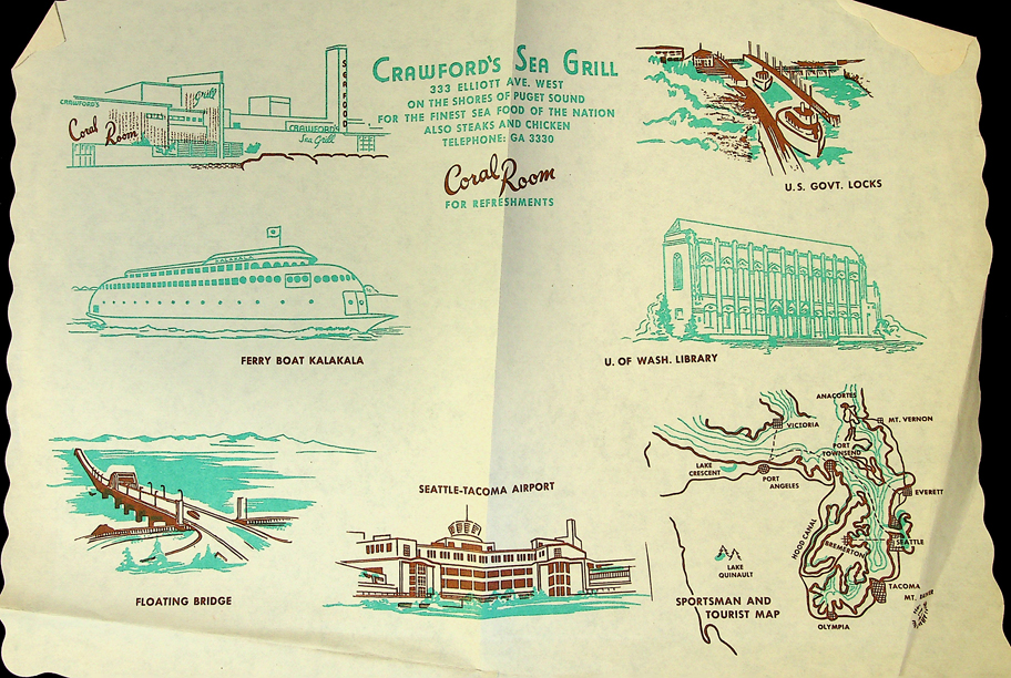 Crawford's Sea Grill paper placemat