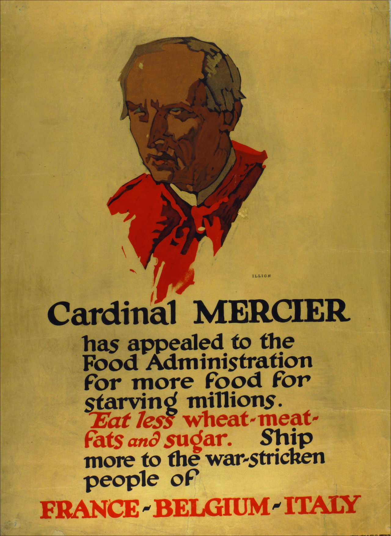 Cardinal Mercier has appealed to the Food Adminstration for more food for starving millions...